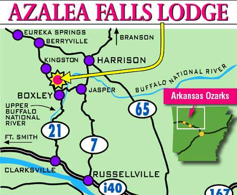 Area Map | Arkansas | Ozark Mountains | Location Of Azalea Falls ...